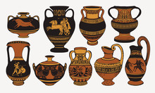 Set Of Antique Greek Amphorae,...