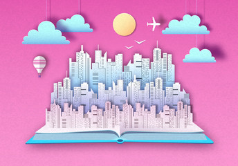 Open fairy tale book with urban city landscape. Cut out paper art style design