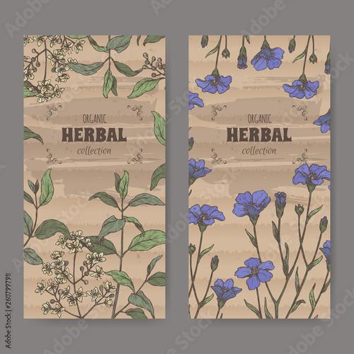 Two labels wuth Lawsonia inermis aka henna tree and Linum usitatissimum aka common flax sketch Wallpaper Mural