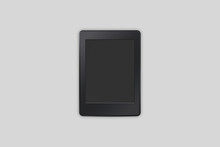 Top View Of Digital E-book Device Isolated On Soft Gray Background. 3D Rendering.