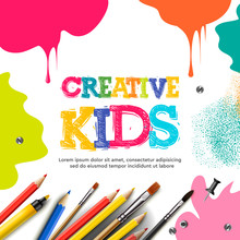 Kids Art Craft, Education, Creativity Class Concept. Vector Illustration.
