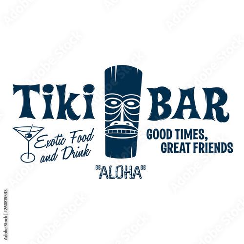 Cuadros en Lienzo Vintage Style Clip Art - Tiki Bar - Vector EPS10.
