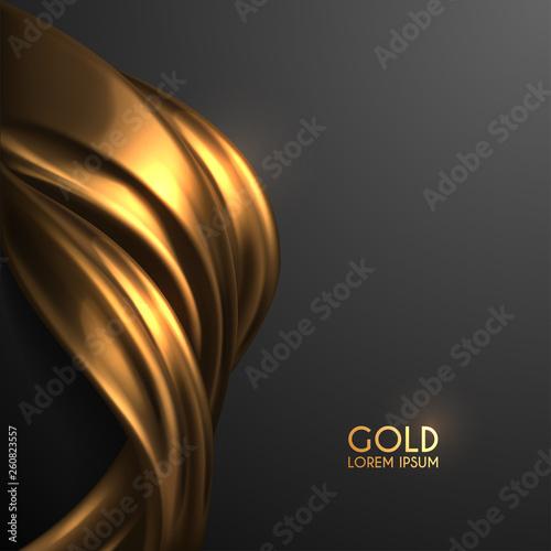 Photo golden silk on black background