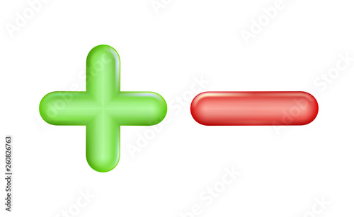 Fotomural Plus and minus icon green, red symbol
