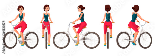 Fotografie, Obraz  Vector illustration of young woman in casual clothes riding bicycle