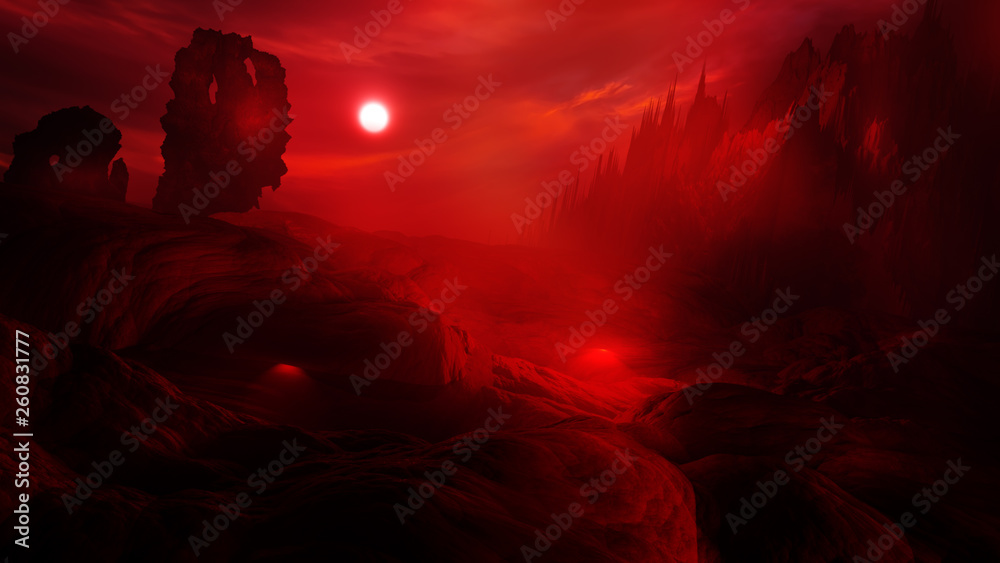 Fototapety, obrazy: concept art of hell with fire clouds in sunset sky and scary landscape