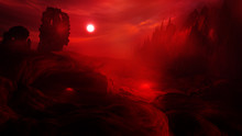 Concept Art Of Hell With Fire Clouds In Sunset Sky And Scary Landscape