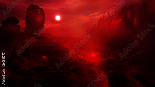 Photo concept art of hell with fire clouds in sunset sky and scary landscape