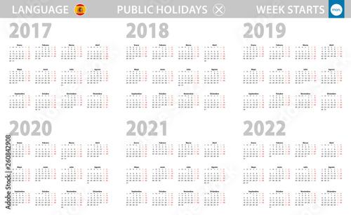 Spanish Calendar 2022.Calendar In Spanish Language For Year 2017 2018 2019 2020 2021 2022 Week Starts From Monday Stock Vector Adobe Stock