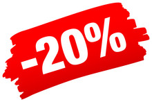 "Pinselstrich ""-20%"" Rot"