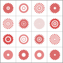Design Elements Set. Abstract Circle Geometric Patterns.