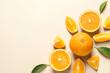 Leinwandbild Motiv Flat lay composition with ripe oranges and space for text on color background