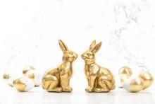 Golden Rabbits Easter Eggs White Background