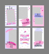 6 Editable Layout Templates For Social Media Stories, Mobile Apps, Banner Or Flyer Design. Social Media Pack For Girls With Unicorn Corn