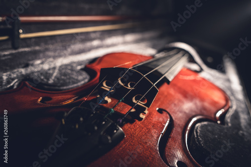Close up on the violin musical instrument - 260863749
