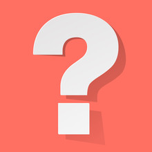 Question Mark White On A Coral Color Background