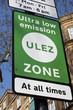 Leinwanddruck Bild - ULEZ, London, UK - April 8 2019: ULEZ (Ultra low emission zone) charge congestion charge & Ultra Low Emission Zone (ULEZ) warning sign central London £12.50, TFL stock photo photograph image picture