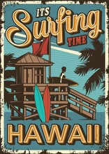 Vintage Surfing Time Poster