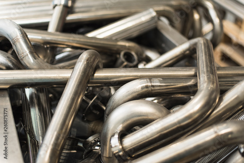 Fotomural Background of metal twisted pipes