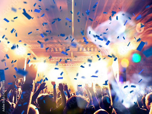 Concert hall with crowd clapping - 260877186