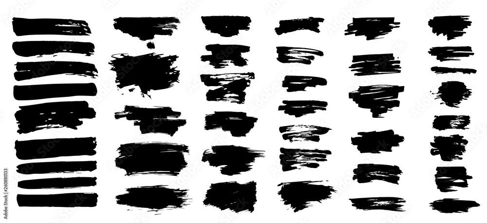 Fototapety, obrazy: Ink splashes. Black inked splatter dirt stain splattered spray splash with drops blots isolated vector grunge silhouette set