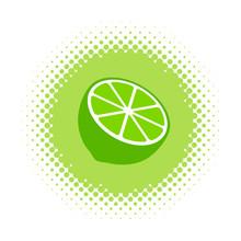 Lime Icon On Halftone Round Shape