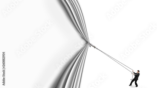 Photo  Businessman pulling open white curtain with blank behind, isolated on white background