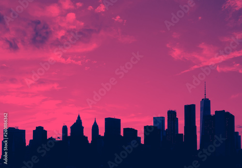 Poster New York New York City skyline buildings and empty sky in pink and blue