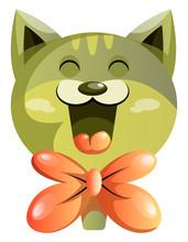 Happy Green Cat With Orange Bowtie Vector Illustartion On White Background