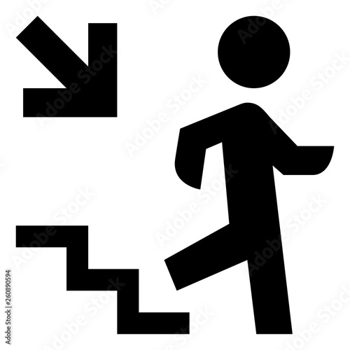 Person Walking Down Steps Icon Wall mural