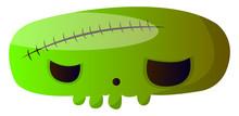 Big Scary Cartoon Green Skull Vector Illustartion On White Background