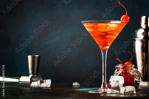 Classic alcoholic cocktail Manhattan with bourbon, red vemuth, bitter, ice and c Poster Mural XXL