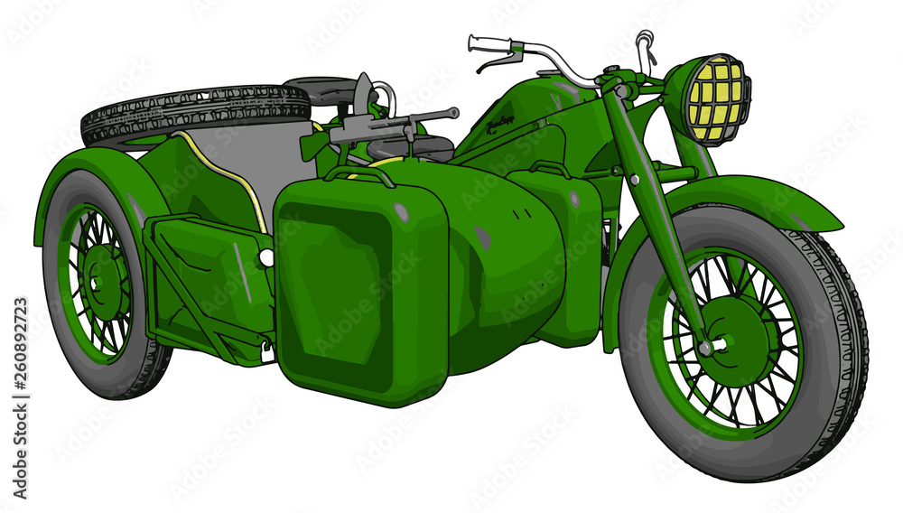 Fototapeta 3D vector illustration on white background  of a military motorcycle with sidecar
