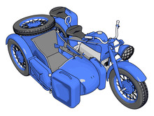 3D Vector Illustration On White Background  Of A Military Motorcycle With Sidecar