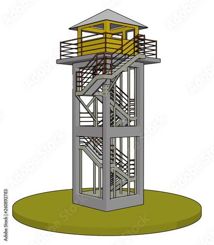 Slika na platnu 3D vector illustration on white background  of a watch tower