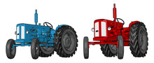 Blue And Red Tractor Vector Illustration On White Background