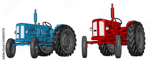 Foto  Blue and red tractor vector illustration on white background