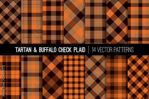 Photo  Orange, Brown and Beige Tartan and Buffalo Check Plaid Vector Patterns