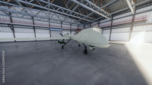 Photo  Military drone stands in his hangar on a Sunny day. 3D Rendering