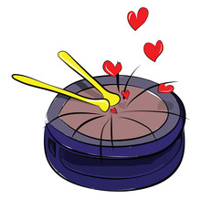Painting A Blue Drum Set Struck With Two Yellow Sticks And Producing Lovely Music Vector Color Drawing Or Illustration
