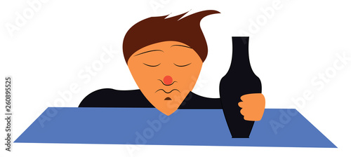 Fotografía  Clipart of a drunk man holding a black bottle filled with alcohol and his eyes a