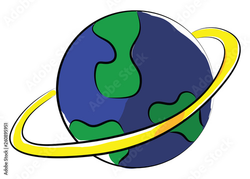 Fotografia  Clipart of a globe displaying the land and water portions of our world vector co