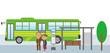バス停留所と老夫婦