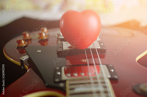 love guitar,red  heart on guitar - 260902193