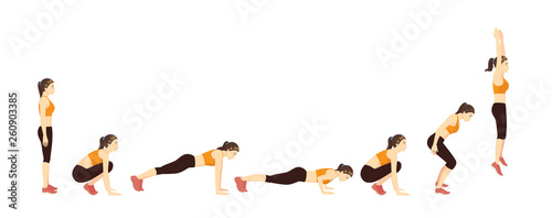 Fotografia  Woman doing a Burpee with Push Up step for exercise guide
