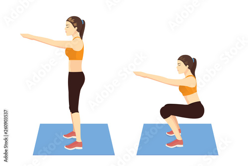 Fotografía Exercise guide by Woman doing air squat in 2 steps in side view for strengthens entire lower body