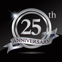 25th Anniversary Logo With Silver Ring And Ribbon. Vector Design Template Elements For Your Birthday Celebration.