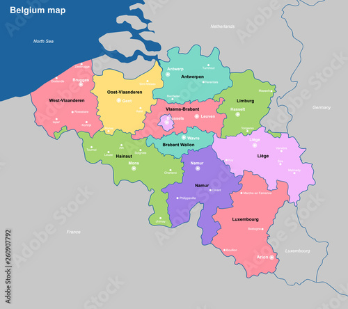 Belgium Political Map with capital Brussels, national ...