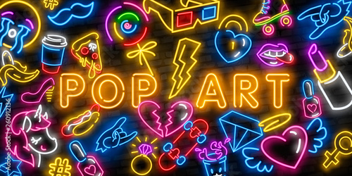 Obraz Pop art icons set. Pop art neon sign. Bright signboard, light banner. Neon isolated icon, emblem. Heart, diamond, pizza, smile, hand, ice cream, star, donut and unicorn vector neon icon - fototapety do salonu