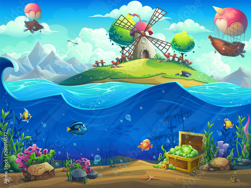 Undersea world with airship...